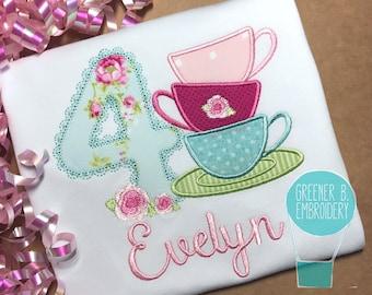 Tea Party Applique Shirt / Tea Party Birthday / Tea Cup Applique / Tea for Two / Tea Birthday Shirt / Girl Birthday Shirt / Tea Time Shirt