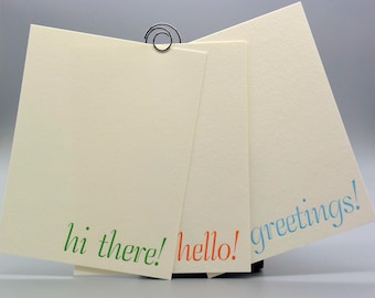 Set of 6, Letterpress Printed Flat Greeting Cards using Hand-Set Antique Metal Type and Green, Orange, Sky Blue Ink with Mix/Match Envelopes