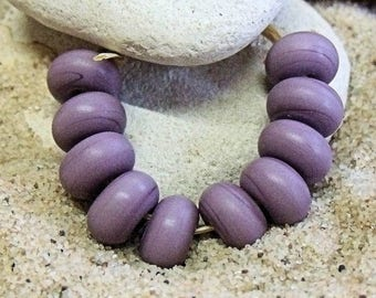 Etched Purple, Lampwork Spacer Beads, SRA, UK