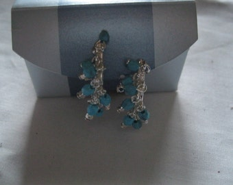 Avon Aqua Beaded Hoop Clip Earrings