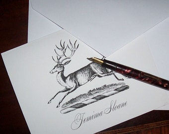 Deer Stag Elk Personalized Monogrammed  Stationery Vintage Inspired 10 Black Ivory Woodland Forest Rustic Mountain Cabin Lodge Note Cards