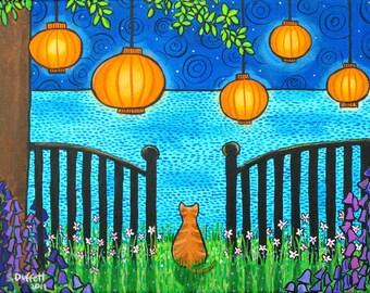 Summer Dreams, Orange Tabby ,Chinese Lanterns, Ocean,  Dream Shelagh Duffett