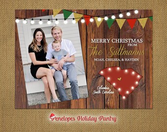 South Carolina Christmas Family Photo Card,Rustic,Christmas Lights,Heart,Barn Wood,Custom to City,Unique,Printed Card,Optional Back Print