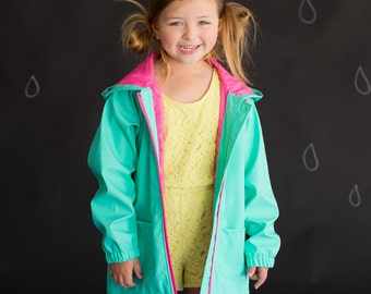 Girls Mint Monogrammed Rain Jacket, Monogrammed Mint Rain Coat, Monogrammed Mint Jacket, Girls Personalized Jacket