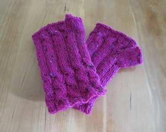 Hand knit chunky yarn hot pink cabled woman's fingerless gloves