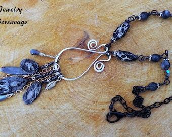 Buddha Necklace, Spiritual Necklace, Meditation Necklace, Black ,Sterling Silver, Enlightenment, Kyanite, Labradorite, Spiritual, Meditation