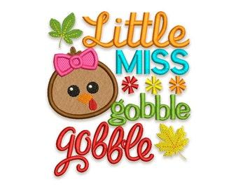 Little Miss Gobble Thanksgiving Applique Machine Embroidery Design TG012