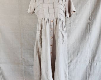 Beige linen field dress - market dress