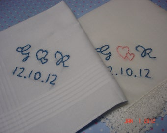bride and groom set of 2,  wedding handkerchief,something blue, monogram,intertwined hearts, hand embroidered /his and hers