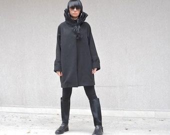 High fashion black coat, asymmetrical women's outerwear, party coat, high neck collar, plus size women coat, women's sizes XS - XL