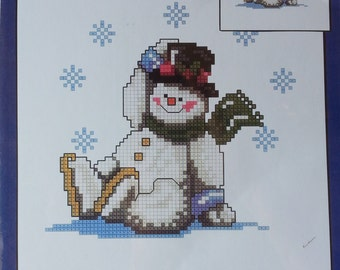 """Snowman Counted Cross Stitch CANDAMAR DESIGNS Snow Much Fun Wearable 51247 Finished Size 8""""x8"""""""