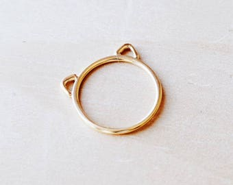 C1013 Gold Stainless Steel Cut Out Cat Ears Ring