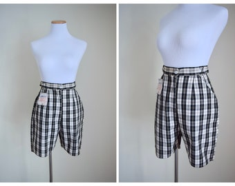 Vintage 60's Black and White Shorts | Plaid Bermuda High Waisted 1960s Shorts |  Dead Stock