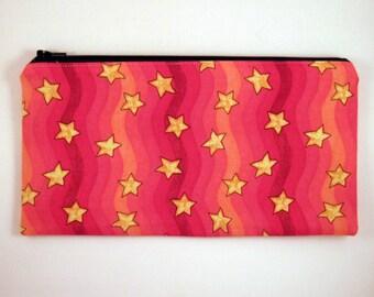 Red Yellow Star Zipper Pouch, Pencil Pouch, Make Up Bag, Gadget Bag