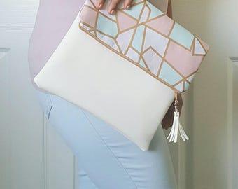 Pink Teal Clutch Bag, Pastel Clutch Purse, Faux Leather Clutch, Large Clutch, Leather Clutch, Wristlet Clutch, White Gold Clutch, Gift