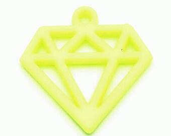 Diamond charm 40mm yellow plastic