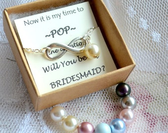 Set of 4 Bridesmaid bracelet Infinity bracelet set 4 four Bridesmaid jewelry Bridesmaid bracelet Will You be my bridesmaid gift