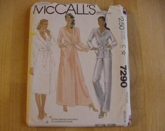 1980s McCalls Pattern 7290, Misses Sleepwear, Robe in 2 Lengths, Pajamas, Misses Size Medium, UNCUT, Vintage,
