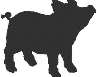 Silhouette - Pig Embroidery - Design file Instant download - 2 sizes