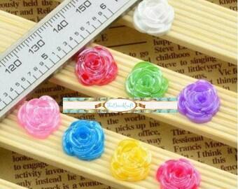 10 Piece Shiny PURPLE Rose Flower Cabochons - Kawaii Decoden Flatback Resin (TDK-C1603)