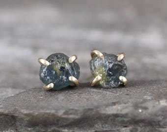 14K Yellow Gold Rustic  Montana Sapphire Earrings - Natural Rough Uncut Sapphires  - Light Blue Yellow Gemstone  - Boho  Earring