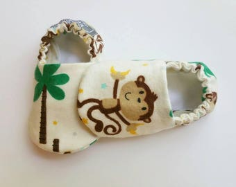 Baby Booties, Baby Gifts, Baby Slippers, Baby Crib Shoes, Baby Moccs, Baby Shoes, Monkey Baby Booties, Animal Slippers, Monkey Baby Slippers