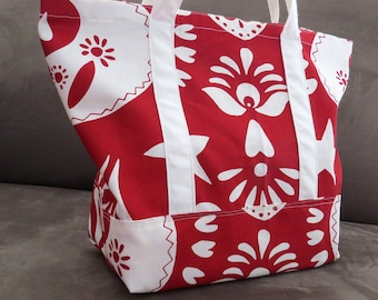 FREE SHIPPING ALWAYS - Red and white print tote bag, cotton bag, reusable grocery bag, knitting project bag, beach bag, Green Market bag