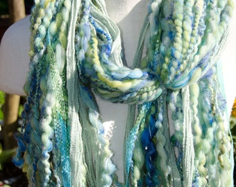Chunky  Art Yarn Scarf *  Blue and Green * Soft  to Skin  * OOAK Hand Spun Plyed Yarn  Merino Alpaca and Leicester Long Wool with Ribbon