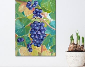 Wild Concord Grapes Original Oil Painting on Board, Small Kitchen Wall Art, 5x7 Hand Painted Mini Purple Fruit Decor by Janet Zeh