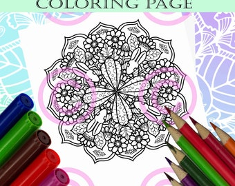 Mandala Doodle Flowers Rabbits and Carrots in Abstract Tangle Flower Garden Coloring page for Adult coloring