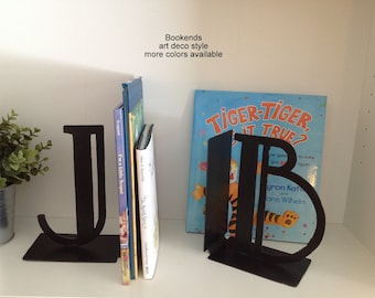 Bookends, Initial book ends, metal bookends, art deco style letters, Letter bookends