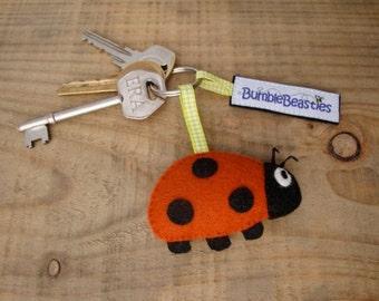 Ladybird Wool Felt Charm Keyring
