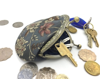 Chinese vintage coin purse, charcoal gray coin purse, floral coin purse, coin bag, key purse, key bag, handcrafted