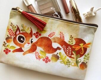 Écureuil espiègle pochette maquillage - trousse de maquillage, trousse zippée en moyenne, cadeau de l'automne