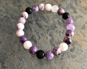 Amethyst, Moonstone, & Lava Stone Essential Oil Diffuser Bracelet