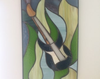 Electric Guitar Stained Glass Panel Wall Hanging Sun Catcher