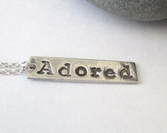 Silver Adored Bar Necklace, Fine Silver Word Necklace, Inspirational jewelry Necklace, Stamped Silver Jewelry