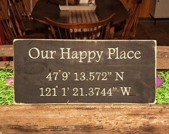Our Happy Place Personalized Gift With Coordinates Customized Rustic Wood Sign With Longitude Latitude Coordinates Gift Idea Housewarming