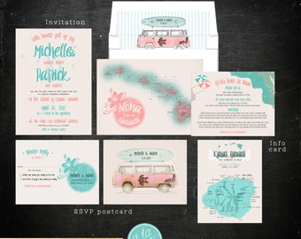 Destination wedding invitation Hawaii Beach illustrated wedding invitation Kauai Wedding Retro Bus Surfboard wedding Deposit Payment