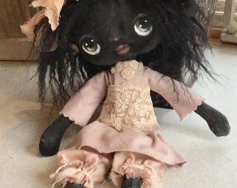 Black doll , Hand made black Doll , OOAK black doll , Hand painted black doll , Collector black doll ,