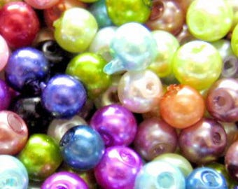 200pieces 4mm Glass Pearl Beads - Assorted Mixed - A0931