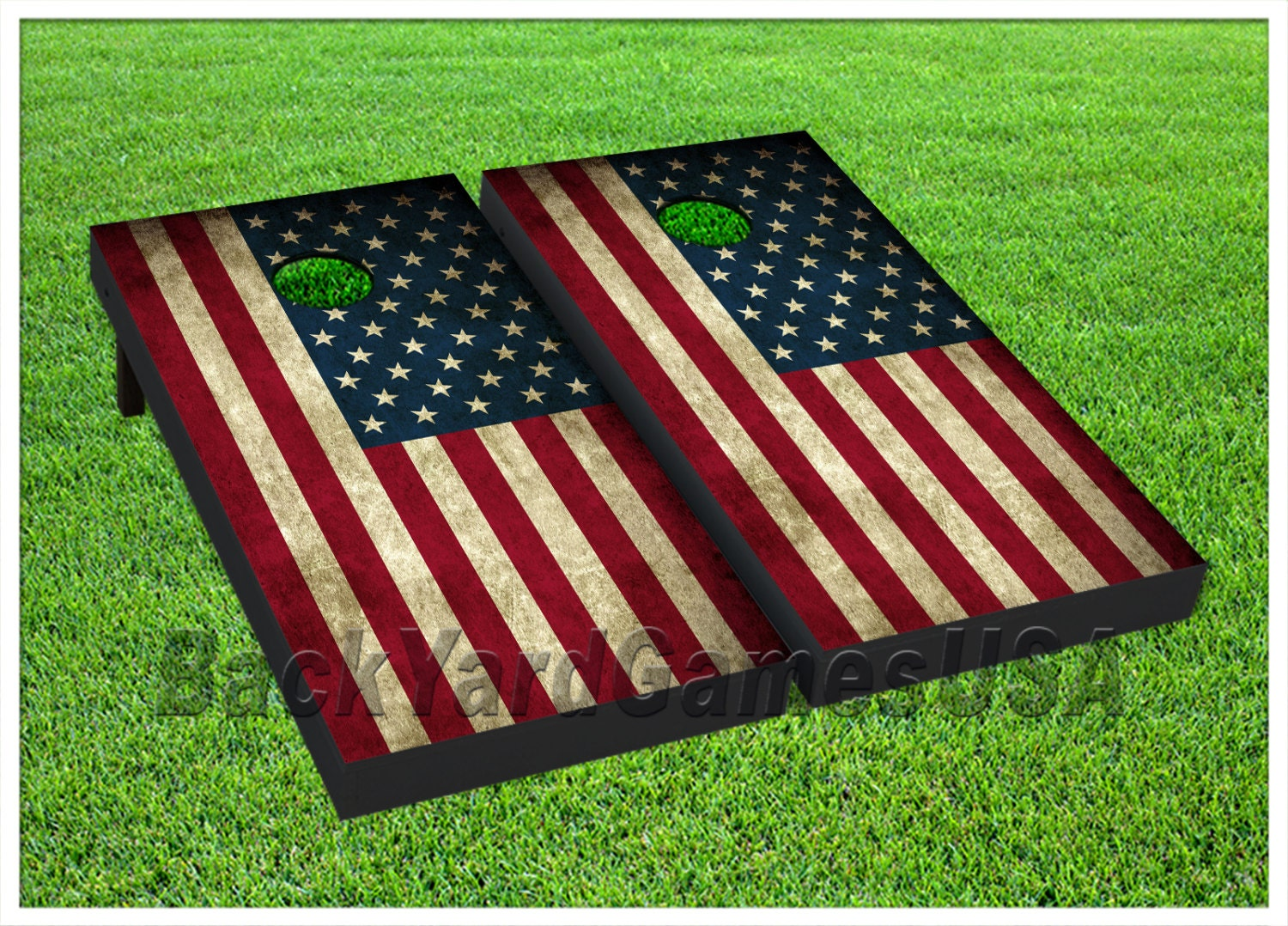 Patriotic Cornhole Boards With Bags Vintage Usa American Flag