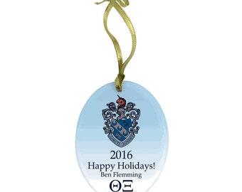 Theta Xi Holiday Color Crest Glass Ornament