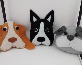 Felt Dog/ Felt Dog Ornament/Home Decoration / Christmas Ornament/ Handmade/ Price for ONE ornament