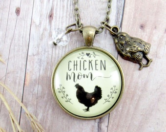 Chicken Mom Necklace Pendant Chick Mama Vintage Style Bronze Baby Chick Charm Chicken Lover Farmhouse Farm Jewelry Cute  Fun Gift For Her