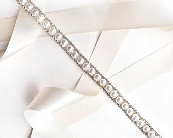 Sash - Classy Pearl Bridal Headband in Silver - Pearl Rhinestone Headband or Thin Belt - Crystal - Extra Long Skinny Wedding Dress Belt