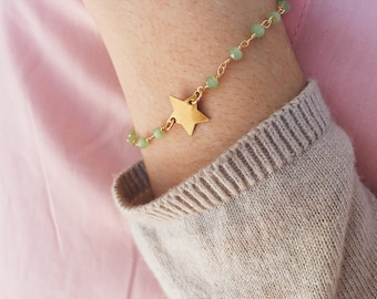 Bracelet with pastel rosary chain and brass starlet