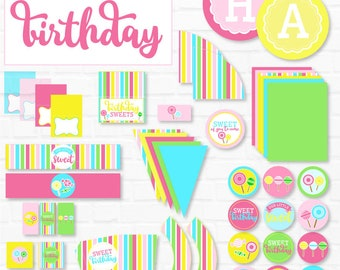 Sweet Shoppe Party PRINTABLES (INSTANT DOWNLOAD) by Love The Day