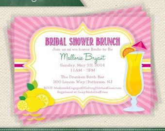 Pink Lemonade - Lemon Mimosas // Pink and Yellow Burgundy Invitation Printable // Personalized for Any Event Add a Photo If You Like