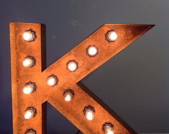 """12"""" Vintage Marquee Light Letter K (rustic) 12"""" Free Shipping"""
